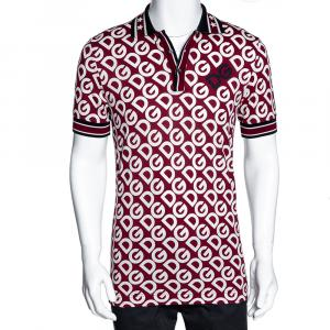 Dolce & Gabbana Bordeaux DG Mania Print Cotton Pique Polo T Shirt IT 52