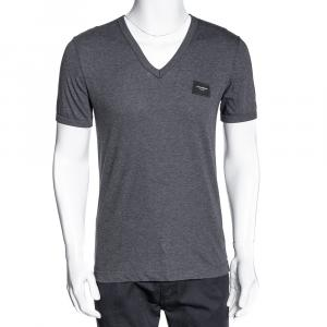 Dolce & Gabbana Grey Cotton Logo Plaque V Neck T Shirt IT 46