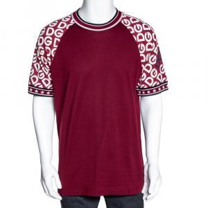 Dolce & Gabbana Bordeaux DG Mania Print Cotton Jersey Crew Neck T Shirt M