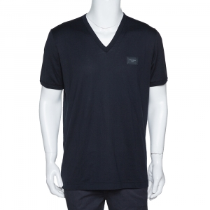 Dolce & Gabbana Dark Blue Cotton Logo Plaque V-Neck T-Shirt XXL