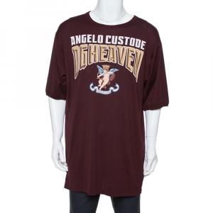 Dolce & Gabbana Burgundy Angelo Custode Print Cotton T-Shirt M