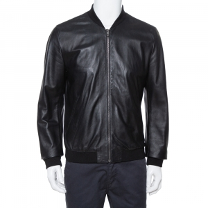 Dolce & Gabbana Black Leather Zip Front Bomber Jacket XL