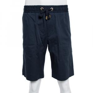 Dolce & Gabbana Midnight Blue Cotton Twill Shorts XXL