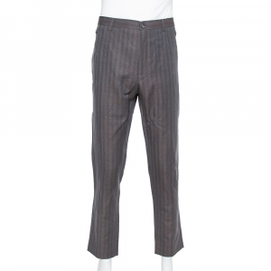 Dolce & Gabbana Brown Flax Dupplin Plaided Classic Trousers 4XL