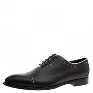 Dolce and Gabbana Black Leather Sicilia Stitch Detail Oxfords Size 44