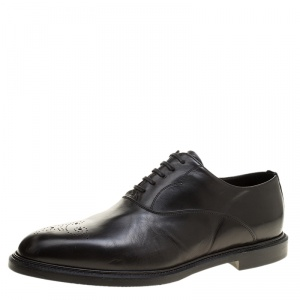 Dolce and Gabbana Black Leather Marsala Oxfords Size 44