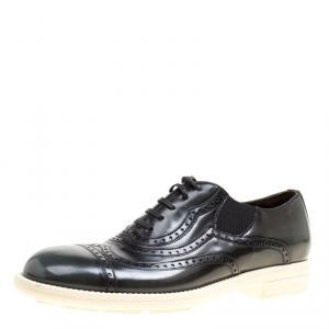 Dolce and Gabbana Black Brogue Leather Milano Oxfords Size 40