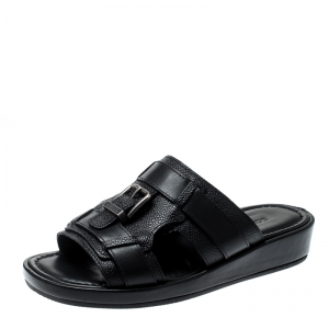 Dolce and Gabbana Black Leather Buckle Platform Slide Sandals Size 40.5