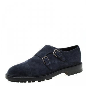 Dolce and Gabbana Oxford Blue Suede Marsala Monk Strap Oxfords Size 42