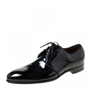Dolce and Gabbana Black Patent Leather Derby Size 43
