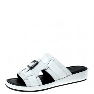 Dolce and Gabbana White Leather Buckle Platform Slide Sandals Size 43