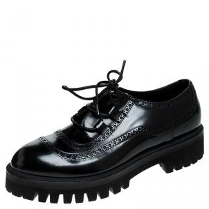 Dolce and Gabbana Black Leather Cortina Corregio Derby Size 42