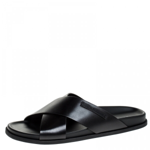 Dolce and Gabbana Black Leather Cross Strap Sandals Size 44