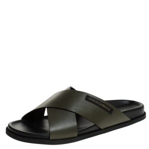 Dolce and Gabbana Olive Green Leather Cross Strap Sandals Size 45