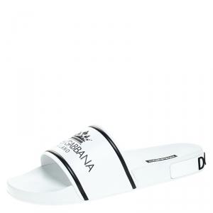 Dolce and Gabbana White Leather Crown Logo Slip On Slides Size 45