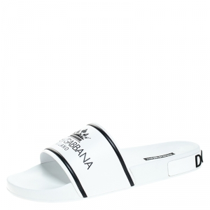 Dolce and Gabbana White Leather Crown Logo Slip On Slides Size 44