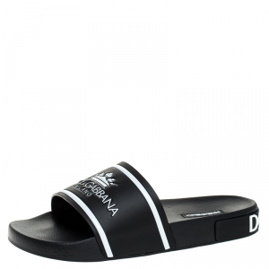 Dolce and Gabbana Black Leather Crown Logo Slip On Slides Size 44