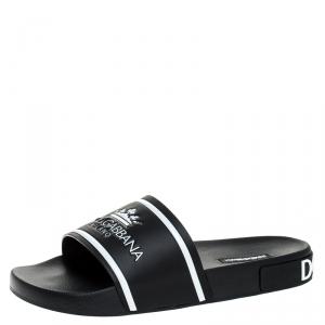 Dolce and Gabbana Black Leather Crown Logo Slip On Slides Size 43
