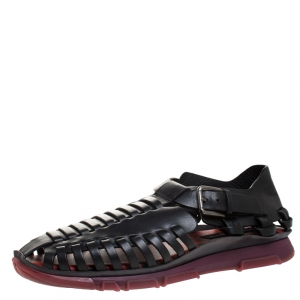 Dolce & Gabbana Black Leather Gladiator Flat Sandals Size 42