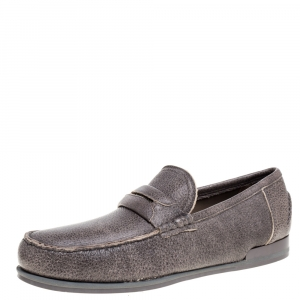 Dolce & Gabbana Brown Leather Genova Loafers Size 43