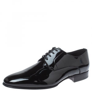 Dolce & Gabbana Black Patent Leather Lace Up Oxfords Size 40.5