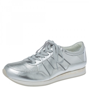 Dolce & Gabbana Metallic Silver Perforated Leather Lace Up Sneakers Size 44