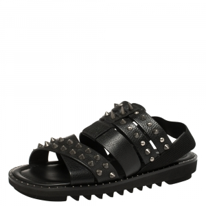 Dolce and Gabbana Black Leather Cross Strap Spike Sandals Size 43