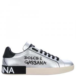 Dolce & Gabbana Silver Portofino Low Sneakers Size EU 43