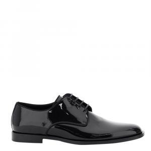 Dolce & Gabbana Black Glossy Patent Leather Lace-Ups Shoes Size IT 42