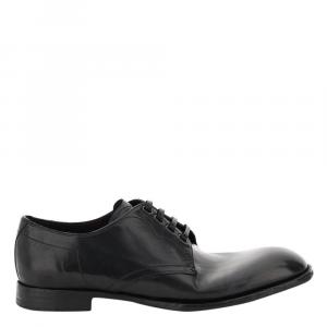 Dolce & Gabbana Black Vintage Leather Michelangelo Vintage Lace-Ups Shoes Size IT 44