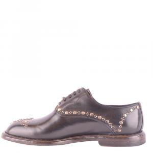 Dolce and Gabbana Dark Brown Leather Studded Derby Shoes Size EU 44