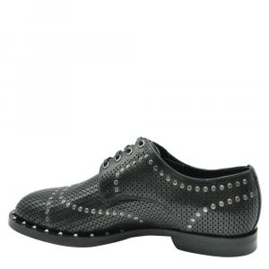 Dolce & Gabbana Black Perforated Studded Derby Shoes Size EU 40