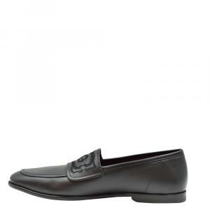 Dolce & Gabbana Black Leather Logo Loafers Size EU 40