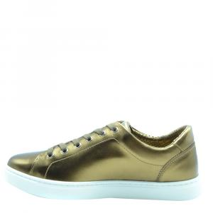 Dolce and Gabbana Gold Leather Sneakers Size EU 40.5