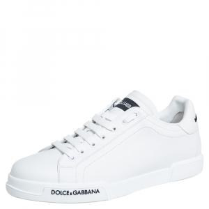 Dolce & Gabbana White Leather Portofino Logo Detail Sneakers Size 43.5