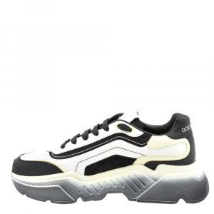 Dolce & Gabbana White/Black Calfskin Nappa Leather Daymaster Sneakers Size EU 41