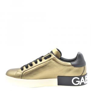 Dolce & Gabbana Gold/Black Calfskin nappa Portofino Sneakers Size 42.5