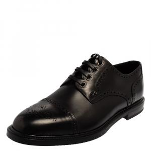 Dolce & Gabbana Black Brogue Leather Michelangelo Lace Up Derby Size 44