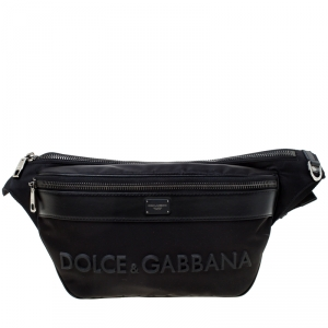 Dolce and Gabbana Black Nylon and Leather Belt Bag