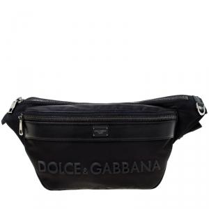 Dolce and Gabbana Black Nylon and Leather Belt Bag