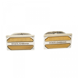 Dolce and Gabbana Textured Two Tone Metal Rectangular Cufflinks