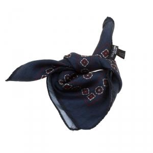 Dolce & Gabbana Blue Geometric Floral Motif Printed Silk Pocket Square