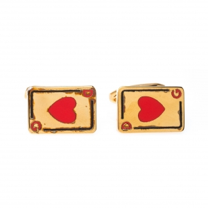 Dolce and Gabbana Hearts Card Motif Gold Tone Cufflinks