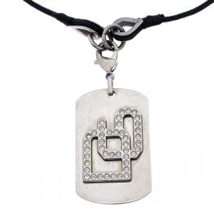Dolce & Gabbana Crystal Silver Tone Dog Tag Pendant