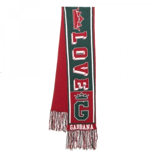 Dolce & Gabbana Red & Green Royal Love Fringed Intarsia Knit Scarf