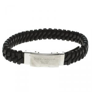 Dolce and Gabbana Black Leather Woven Stainless Steel Bracelet