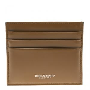 Dolce and Gabbana Brown Leather Card Holder