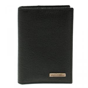 Dolce and Gabbana Black Leather Bifold Card Holder