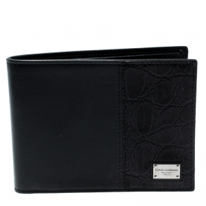 Dolce & Gabbana Black Leather and Croc Bifold Wallet