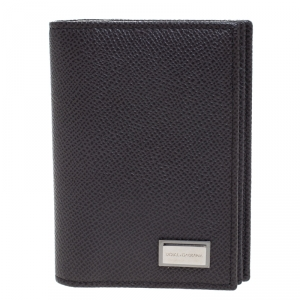 Dolce & Gabbana Dark Grey Leather Bifold Card Holder